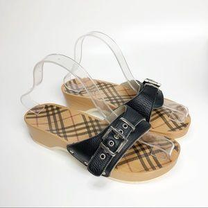 BURBERRY Black and Nova Check Sandals 8.5